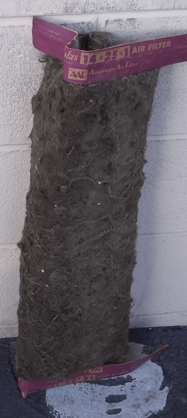 heating filter covered in dust