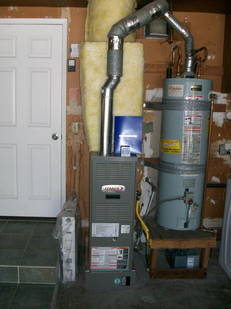 Furnace system in basement