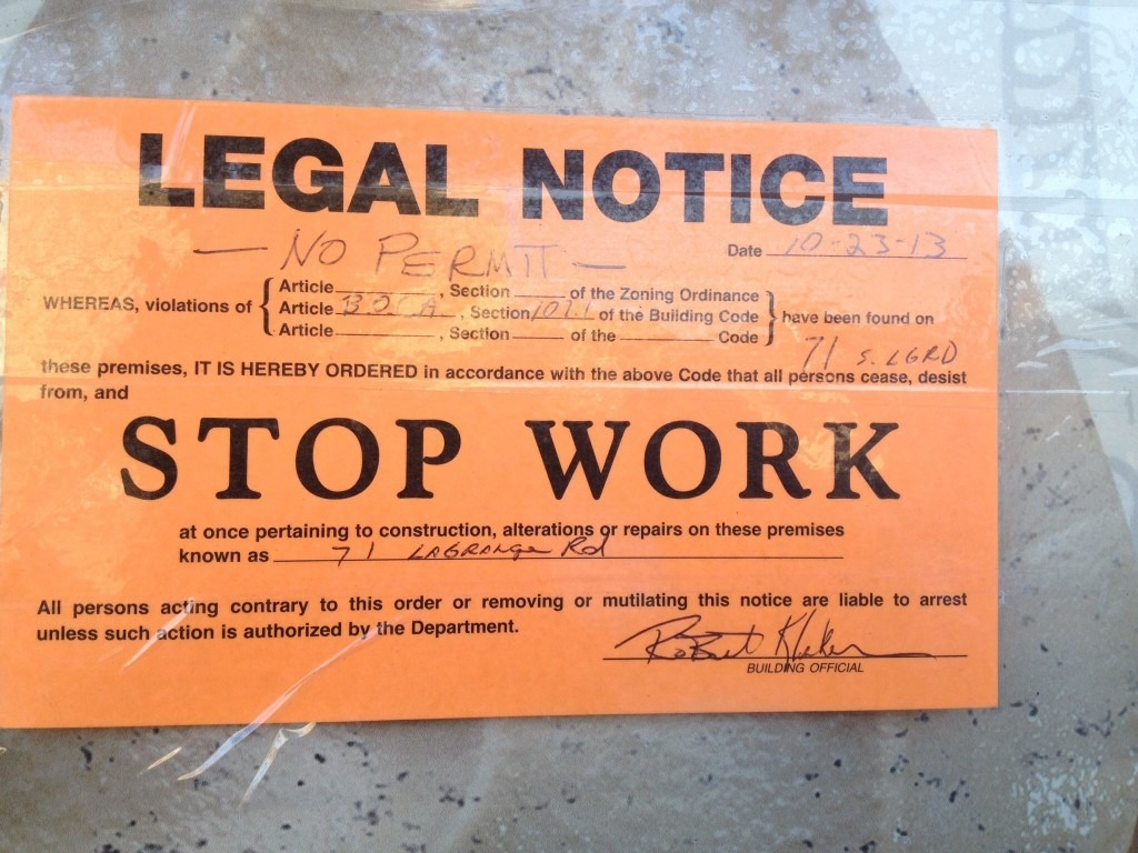 legal notice work stoppage no permit