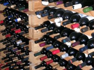 wine rack in wine cellar