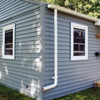 blue siding on home