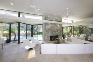 Sunken Seating Area and Exposed Stone Fireplace