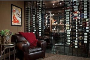 tasting room with a vertical bottle rack
