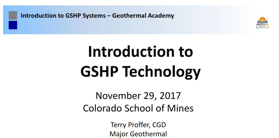 Introduction to GSHP Technology